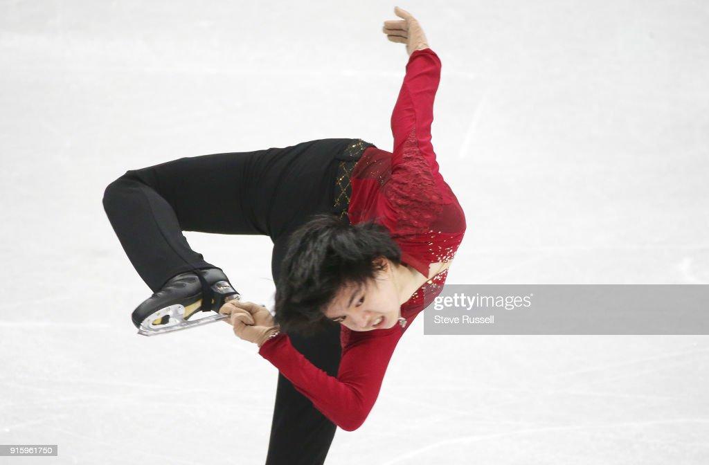 GANGNEUNG, Pyeongchang- FEBRUARY 8 - Junhwan Cha of Korea in the Men's single skating program in PyeongChang 2018 Winter Olympics Figure Skating team event at the Gangneung Ice Arena at the 2018 Pyeongchang Winter Olympics in Gangneung in Pyeongchang in South Korea. February 8, 2018.