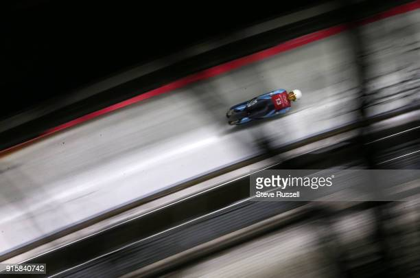 ALPENSIA Pyeongchang FEBRUARY 8 Veronica Maria Ravenna of Argentina takes training on the women's Luge at the 2018 Pyeonchang Winter Olympics Olympic...