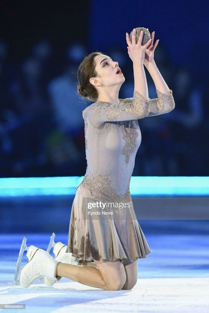 Pyeongchang Olympic figure skating silver medalist Evgenia Medvedeva of Russia performs at the Dreams on Ice show in Yokohama, near Tokyo, on July 6, 2018. ==Kyodo