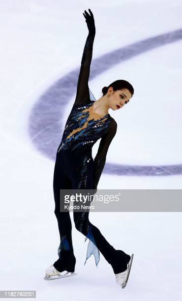 Pyeongchang Olympic silver medalist Evgenia Medvedeva of Russia performs in the women's short program at the Rostelecom Cup in Moscow on Nov 15 2019