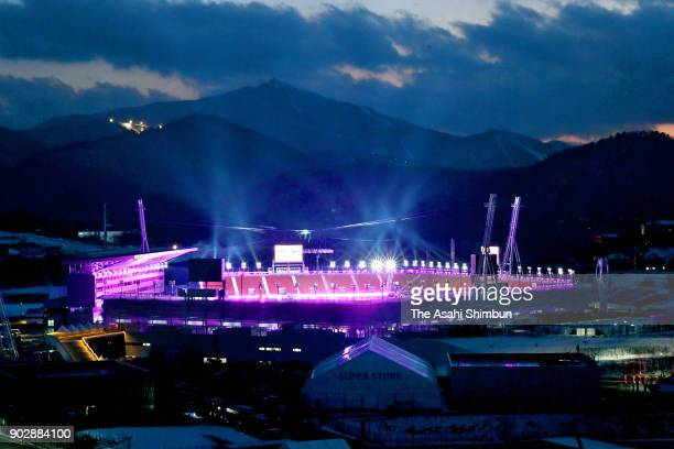Pyeongchang Olympic Stadium is illuminated one month to go to the PyeongChang Winter Olympics on January 9 2018 in Pyeongchanggun South Korea