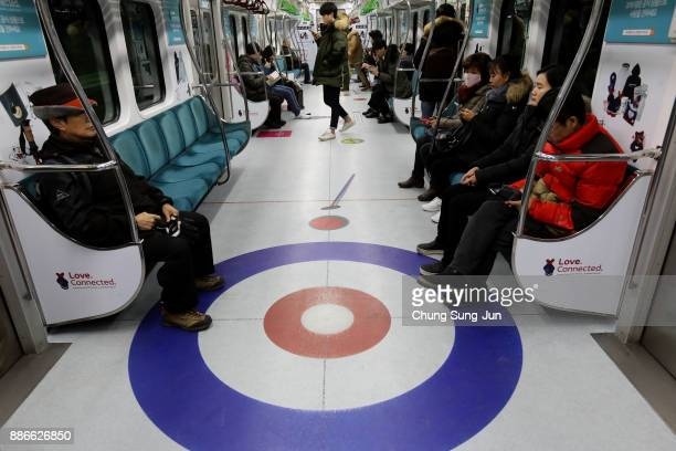 PyeongChang Olympic themed train is seen on December 6 2017 in Seoul South Korea The PyeongChang Winter Olympic themed metro runs until the Games...