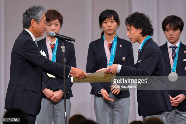Pyeongchang Olympics Snowboard Men's Halfpipe silver medalist Ayumu Hirano receives a certificate during the PyeongChang Winter Olympic Games Japan...
