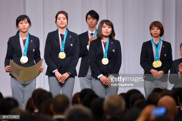 Pyeongchang Olympics Speed Skating Ladies' Team Pursuit gold medalist Miho Takagi and Ayaka Kikuchi and Ayano Sato and Nana Takagi attend the...