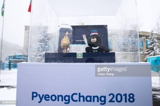 PyeongChang Paralympic Games mascot display at the PyeongChang Olympic Village ahead of the PyeongChang 2018 Paralympic Games on March 8 2018 in...