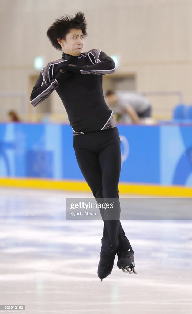 Pyeongchang Winter Olympic gold medalist Yuzuru Hanyu of Japan practices in Gangneung, South Korea, on Feb. 21, 2018, for the figure skating exhibition gala. ==Kyodo
