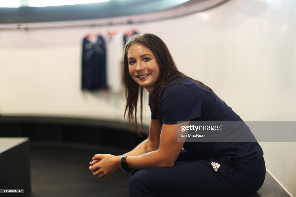 PyeongChang Winter Olympic hopeful Eve Muirhead poses for photographs at The Orium sports complex on August 18, 2017 in Edinburgh, Scotland.