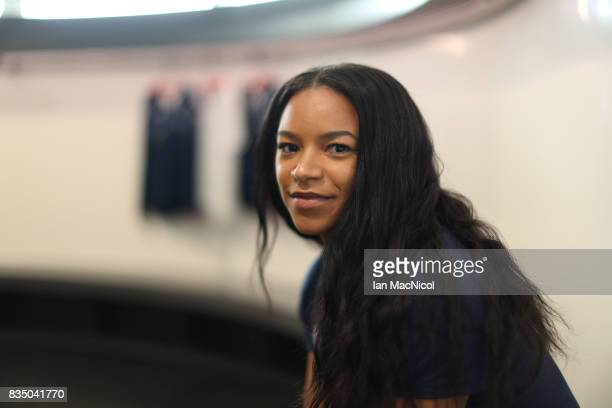 PyeongChang Winter Olympic hopeful Mica Moore poses for photographs at The Orium sports complex on August 18 2017 in Edinburgh Scotland