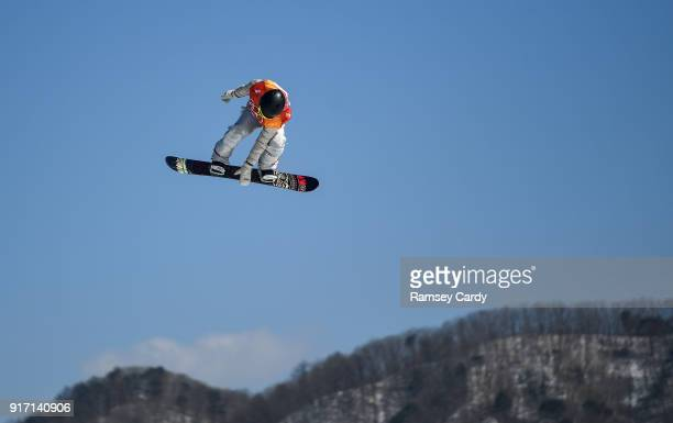 Pyeongchanggun South Korea 12 February 2018 Jamie Anderson of USA in action during the Ladies Snowboard Slopestyle Final on day three of the Winter...