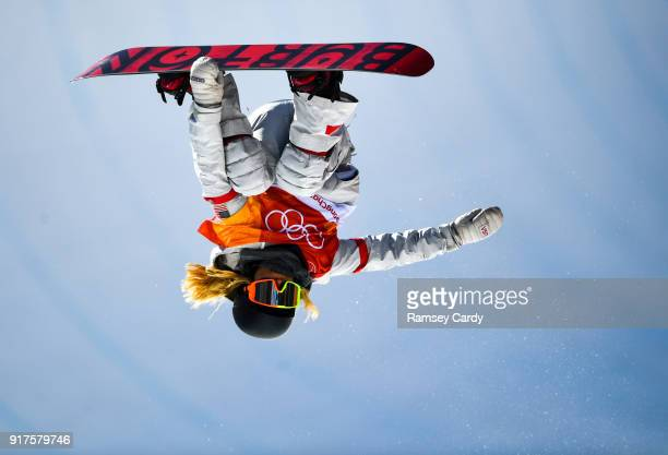 Pyeongchanggun South Korea 13 February 2018 Chloe Kim of USA in action during the Snowboard Ladies Halfpipe Final on day four of the Winter Olympics...