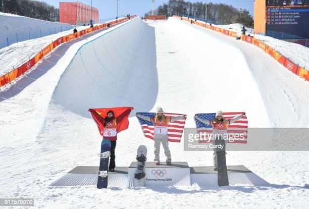Pyeongchanggun South Korea 13 February 2018 Silver medalist Jiayu Liu of China left gold medalist Chloe Kim of the United States and bronze medalist...