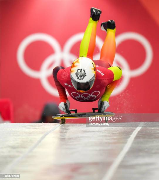 Pyeongchanggun South Korea 14 February 2018 Anna Fernstaedt of Germany trains during the Ladies Skeleton training session on day five of the Winter...