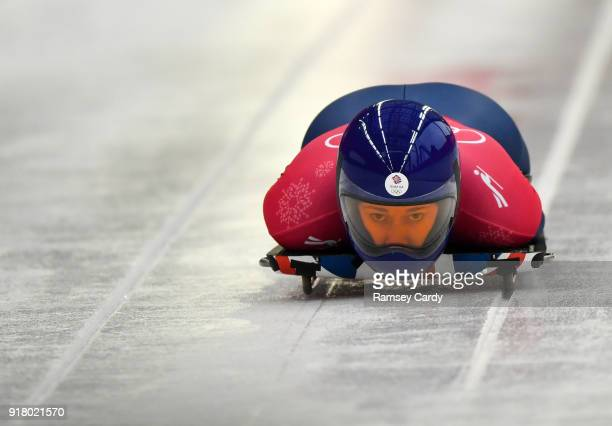 Pyeongchanggun South Korea 14 February 2018 Lizzy Yarnold of Great Britain trains during the Ladies Skeleton training session on day five of the...