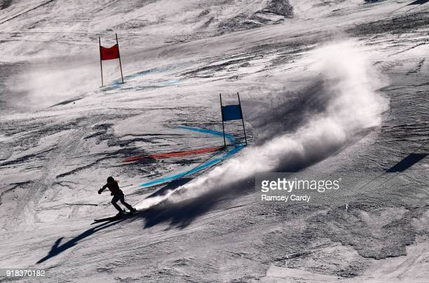 Pyeongchanggun South Korea 15 February 2018 Sarah Schleper of Mexico in action during the Ladies Giant Slalom on day six of the Winter Olympics at...