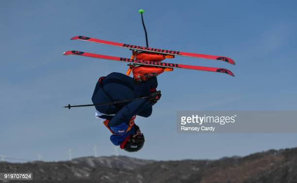 Pyeongchanggun South Korea 18 February 2018 Peter Speight of Great Britain during the Freestyle Skiing Men's Halfpipe training on day nine of the...