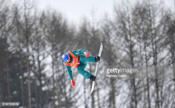 Pyeongchanggun South Korea 9 February 2018 Scotty James of Australia during a snowboard half pipe practice session ahead of the Winter Olympics at...