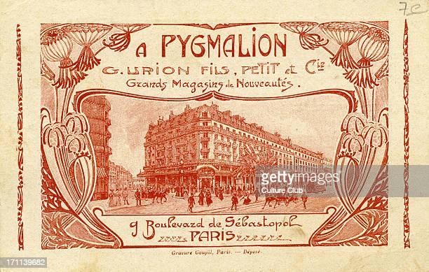 Pygmalion- advertising card for French department store. 'Grands Magasins de Nouveautés Boulevard de Sébastopol, Paris.' Department store circa. 1900.