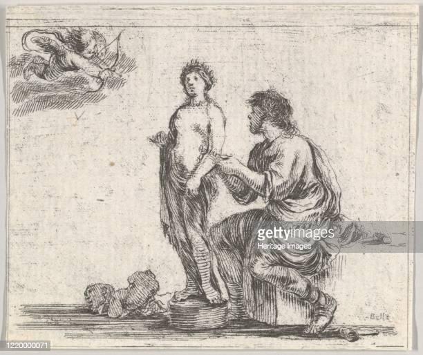 Pygmalion, from 'Game of Mythology' , 1644. Artist Stefano della Bella.
