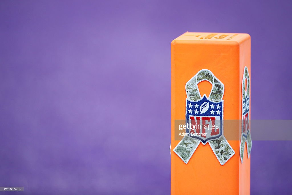 A pylon is decorated with a camouflage ribbon of the game on November 6, 2016 at US Bank Stadium in Minneapolis, Minnesota. The NFL promoted Honor Veterans Day across the league.