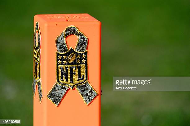 A pylon is seen with an NFL logo at Lincoln Financial Field on November 15 2015 in Philadelphia Pennsylvania