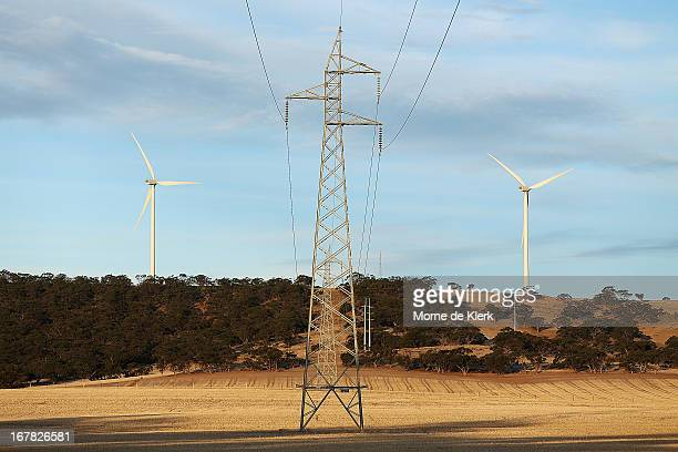 A pylon stands between yonder wind turbines on April 18 2013 in Waterloo Australia South Australia's Environmental Protection Agency in conjunctin...