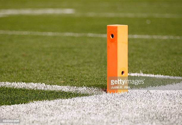 Pylon with cameras inside is seen on October 1, 2015 between the Baltimore Ravens and the Pittsburgh Steelers at Heinz Field in Pittsburgh,...
