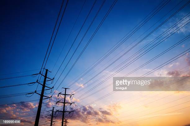 pylons with sunset