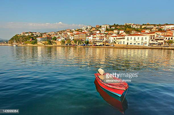 pylos harbour at sunset - peloponnese stock photos and pictures