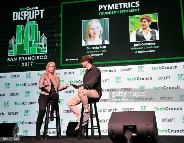 Pymetrics CoFounder and CEO Dr Frida Polli and TechCrunch moderator Josh Constine speak onstage during TechCrunch Disrupt SF 2017 at Pier 48 on...