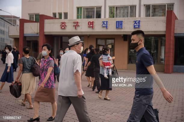 Pyongyang walk to work during rush hour in Pyongyang on June 19, 2021.