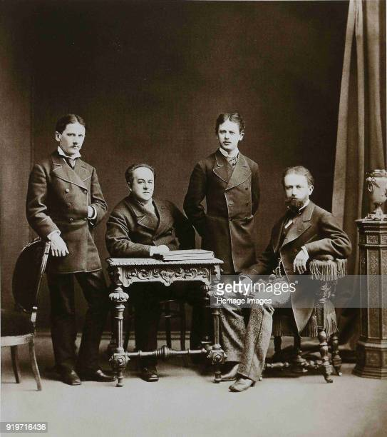 Pyotr Ilyich Tchaikovsky with his Brothers Modest and Anatoly and ND Kondratyev 1875 Found in the Collection of State P Tchaikovsky Memorial Museum...