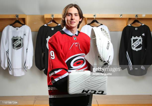 Pyotr Kochetkov 36th overall pick of the Carolina Hurricanes poses for a portrait during Rounds 27 of the 2019 NHL Draft at Rogers Arena on June 22...
