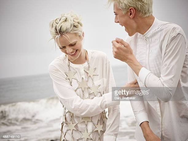 Pyper America and Lucky Blue Smith are photographed for Trendi Magazine on May 30 2015 in El Segundo California