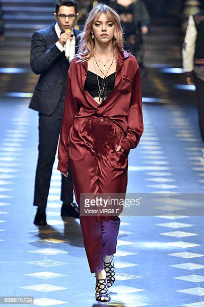 Pyper America Smith walks the runway at the Dolce Gabbana show during Milan Men's Fashion Week Fall/Winter 2017/18 on January 14 2017 in Milan Italy