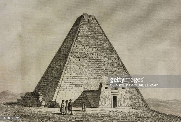 Pyramid Afsour Nubia Sudan engraving by Lemaitre from Senegambie et Guinee by Tardieu Nubie by Cherubini Abyssinie by Desvergers L'Univers...