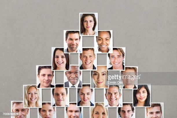 Pyramid formation of passport size portraits