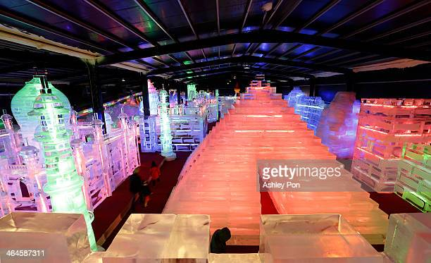 Pyramid ice sculpture displayed at the Fantasy Ice World on January 23 2014 in Taipei Taiwan Ice sculptors from the famous Harbin Ice Festival create...