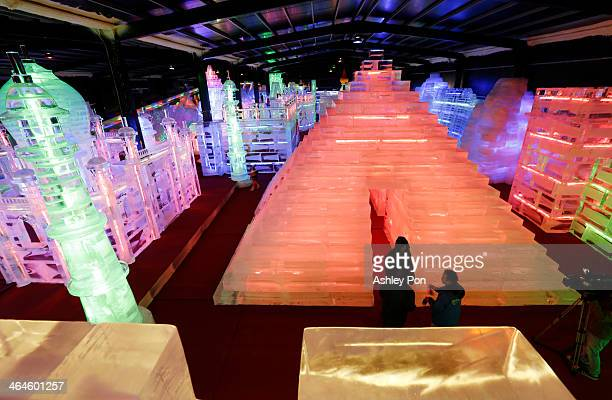 """Pyramid ice sculpture displayed at the """"Fantasy Ice World"""" on January 23, 2014 in Taipei, Taiwan. Ice sculptors from the famous Harbin Ice Festival..."""