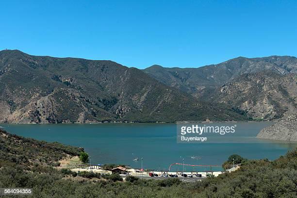Pyramid Lake a reservoir formed by Pyramid Dam on Piru Creek in the eastern San Emigdio Mountains near Castaic Southern California