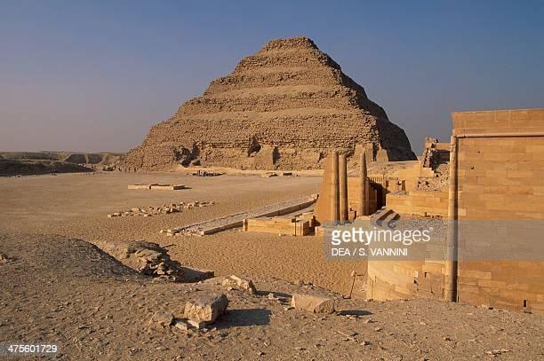 Pyramid of Djoser or step pyramid Saqqara Necroplis Memphis Egypt Egyptian civilisation Old Kingdom Dynasty III