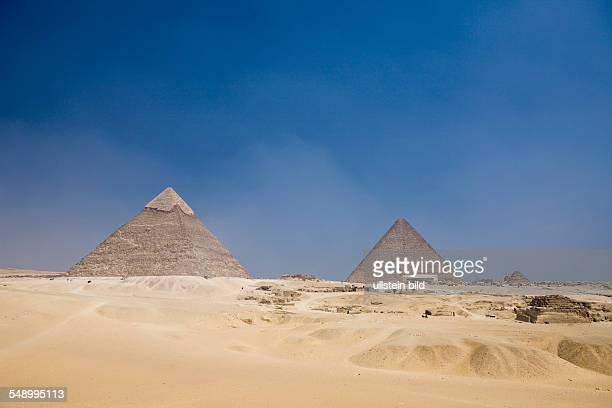 Pyramid of Khafra with Pyramid of Cheops in Background Cairo Egypt