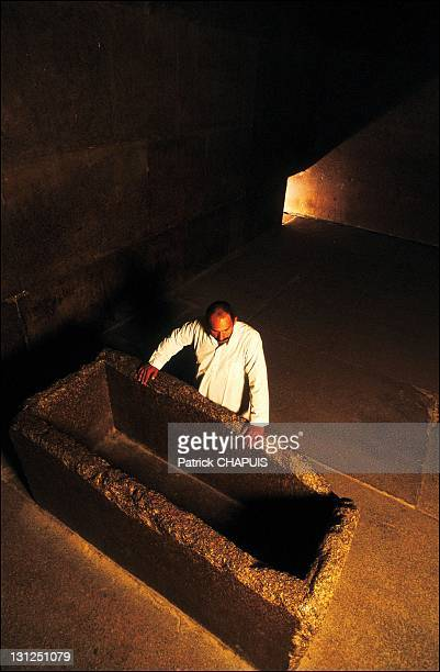 Pyramid of Kheops inside the pyramid the King's chamber and his sarcophagus in Giza Egypt in 2005
