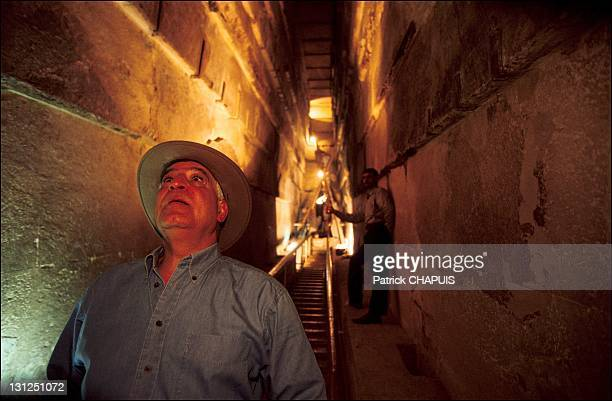 Pyramid of Kheops the top of the Great Gallery Dr Zahi Hawass of a ventilation duct coming out of the Queen's Chamber in Giza Egypt in 2005