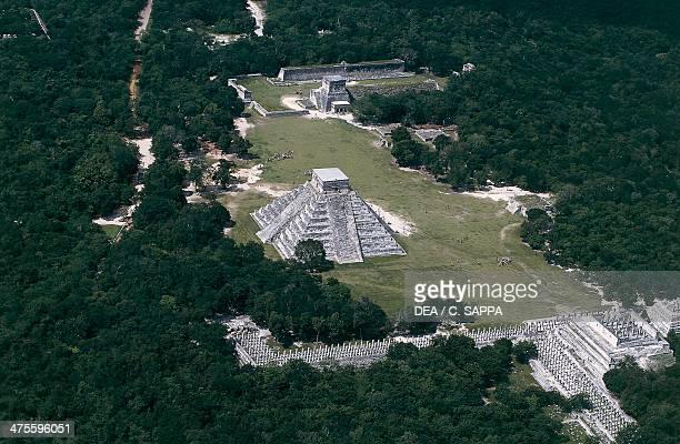 Pyramid of Kukulkan or El Castillo and the Group of a Thousand Columns Chichen Itza Yucatan Mexico Maya Civilisation