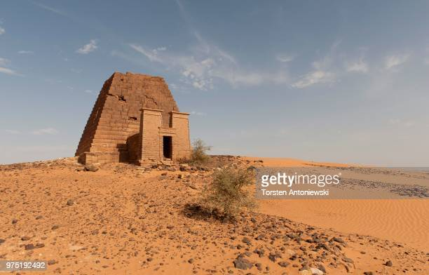 Pyramid of Queen Natakamani, pyramids of the northern cemetery of Meroe, Nubian Desert, Nubia, Nahr an-Nil, Sudan