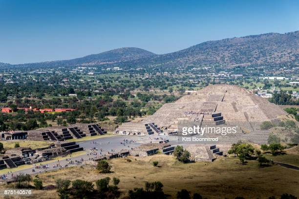 pyramid of the moon from pyramid of the sun in teotihuacan, mexico - aztec civilization stock photos and pictures