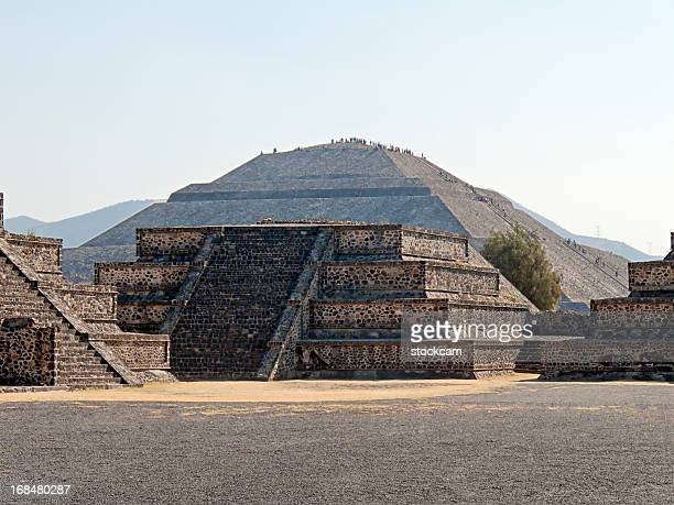 pyramid of the sun in teotihuacan mexico - mexican god stock pictures, royalty-free photos & images