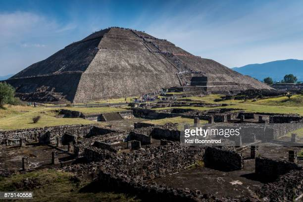 pyramid of the sun in teotihuacan park of mexico - ancient civilization stock photos and pictures