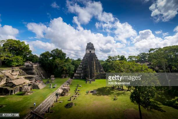 Pyramid of Tikal, the most famous maya ruin in Guatemala