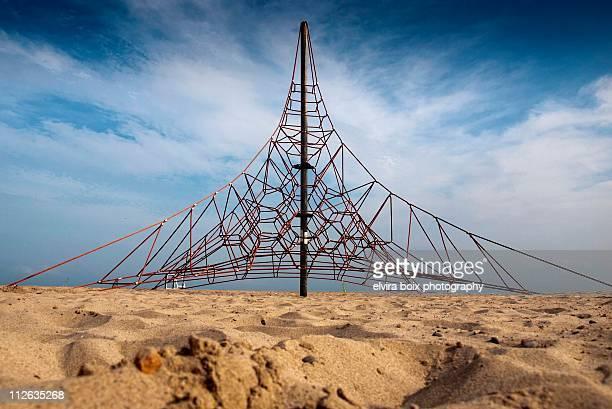 pyramid on the beach - ジャングルジム ストックフォトと画像